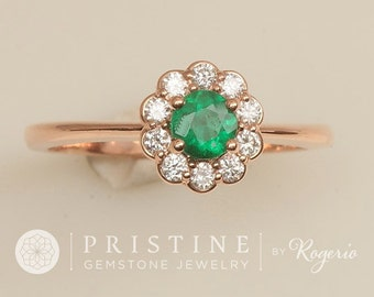 Emerald Engagement Ring Rose Gold Diamond Halo Gemstone Engagement Wedding Ring Anniversary Ring