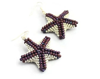 Purple Starfish Earrings - Beaded Earrings - Marine Life Jewelry - Seed Bead Earrings - Beadwork Jewelry - Dangle Earrings