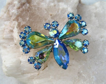 Vintage Rhinestone Butterfly Brooch Signed B. David Blue Yellow Green AB