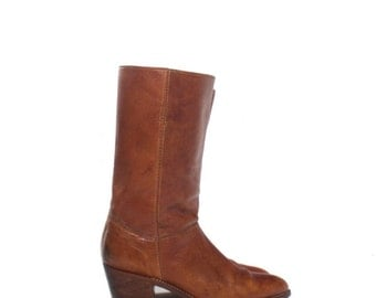Make An Offer 8 D | 1970's Vintage Men's Brown Leather Boots Mid Calf w/ Medium Heel Made in Brazil