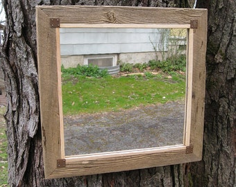 Small Rustic Barn Wood Mirror no.1610