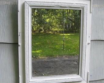 Medium White Rustic Mirror