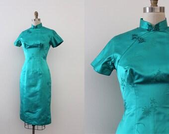 vintage 1950s Cheongsam dress // 50s turquoise silk wiggle dress