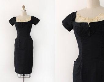 vintage 1950s Ceil Chapman dress // 50s designer little black dress