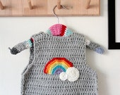 Crochet baby vest - Clouds and rainbow