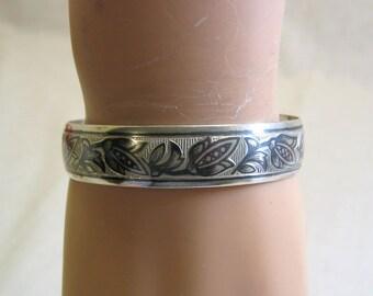 Sterling Cuff Bracelet, Jacobean Floral Design, 5/8ths Inch High, Beautiful