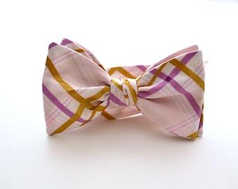 Self Tie Bow Tie, Lavender and Gold Plaid, Purple Bow Tie, Wedding Bow Tie, Groomsmen Bow Ties, Bowtie, Handmade Bow Ties