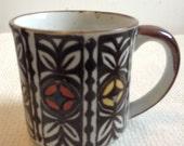 Hawaiian Print Coffee Cup, Mug.  Tiki Bar.  Hollywood Regency,  Mid century modern, Danish Modern, Eames era. Vintage 1970