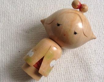 Wood Kokeshi Doll Figure.  Japan.  Vintage Modernist. Mod, Mid century.  Looks like Stewie's sister.