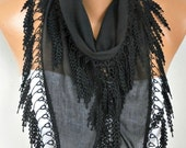 Black Cotton Scarf Fall Scarf Necklace Shawl Cowl Bridesmaid Gift Gift Ideas For Her Women Fashion Accessories Women Scarves Christmas Gift