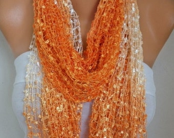 Orange Knitted Scarf, Wedding Shawl,Graduation,Bridal Accessories,Bridesmaid Gift,Cowl Scarf, Gift Ideas For Her, Women Fashion Accessories