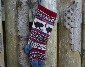 Cats Christmas Stocking Knitted Holiday Xmas Christmas Stocking Fair Isle Stranded Knit Home Decoration Ornament (Ready to Ship) LRR
