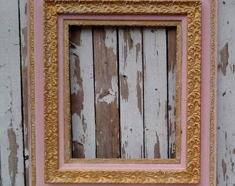 Antique frame, Pink and Gold frame, Large frame, Vintage frame, Shabby Cottage, Paris Chic, French Provincial, Girls Nursery,