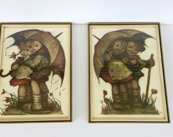 Vintage Hummel Prints / German Hummel Framed Prints / Sunny Hours / April Showers