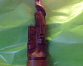 Tiki God Moai Heads with Parrot carved Wood Statue