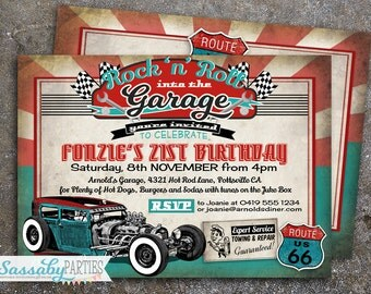 50s Garage Rock 'n' Roll Hot Rod Invitation - INSTANT DOWNLOAD -  Editable & Printable Birthday Party Invitation by Sassaby Parties