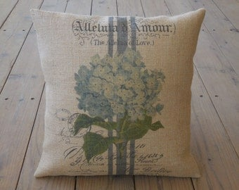 French Hydrangea Burlap Pillow, Farmhouse Pillows,  Shabby Chic, INSERT INCLUDED