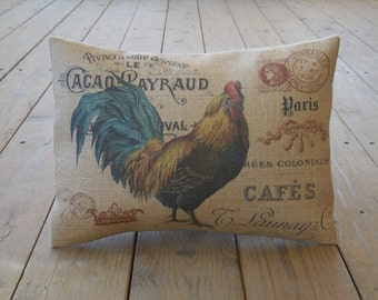 Rooster Postcard Burlap  Pillow, Farmhouse Pillows, French Country, INSERT INCLUDED