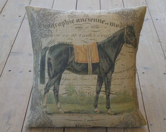 French Horse Burlap Pillow, Yellow Saddle, 16 inch square, Shabby Chic, Horses , INSERT INCLUDED