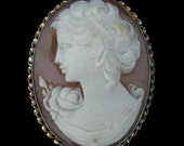 Cameo 10k Gold Pendant Brooch Pin FOB Lady Rose Victorian Vintage Antique