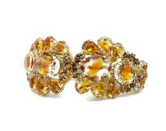 STUNNING Vintage D&E Juliana Art Glass Hinged Clamper Bracelet Confirmed Book Piece!