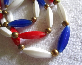 Red, White and Blue Long Necklace, Vintage Long Necklace, Patriotic or Nautical Style, Vintage Jewelry