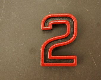 "Vintage Industrial Number ""2"" Black with Red and Green Paint, 2"" tall (c.1940s) - Monogram Display, Shadow Box Number, Art"