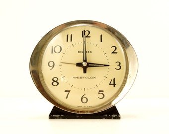 Vintage Big Ben Westclox Alarm Clock in Black and Ivory (c.1943) -  Collectible Clock, Steampunk Supplies, Clock Parts