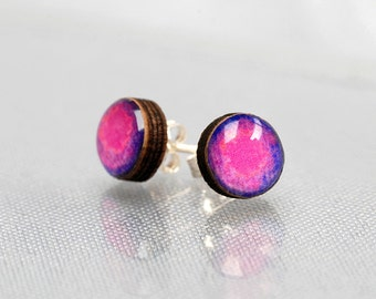 Pink and Purple tiny Stud Earrings