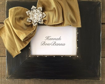 Holiday Frame Bow Crystal Jewel Personalize Baby First Christmas Family Gift Holiday Decor