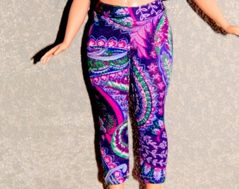 Curvy Barbie Purple Paisley exercise yoga pants A4B152 fashionista fashion doll clothes