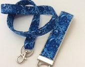 Reserved listing :  Keyfob and Lanyard  /water droplets /fabric key fob