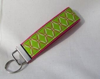 Keyfob wristlet / key chain /pink and green /fabric key fob