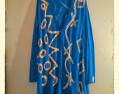 Sale Celebration! Hand Painted Art Sweater 2x 3x 4x Plus uPCYCLED bOHO cHIc Blue Hot Pink Yellow Orange Cardigan