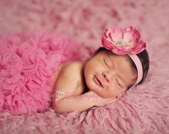 pink baby headband..pink flower headband..baby girl pink headband..large pink flower headband