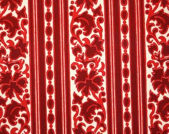 Retro Flock Wallpaper by the Yard 70s Vintage Flock Wallpaper - 1970s Red Floral Stripe Flock