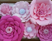 RTS Large Paper Rose Paper Flower Photo Prop Backdrop Set of 6 Shades of Pink Flowers Wedding Nursery Decor RTS Ready to Ship