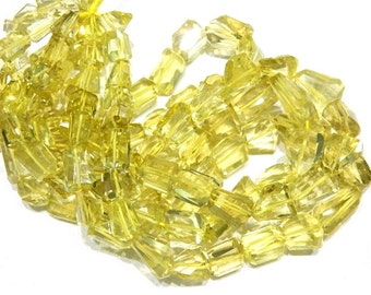 "Lemon Quartz Nuggets Faceted Beads Gemstone   Size- 10-17mm Approx 3 Strands 8""AAA High Quality  100% Natural Stone"