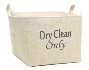 Dry Clean Only Burlap Laundry Basket