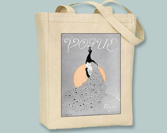 Vogue Peacock Vintage 1920s illustration BLACK or NATURAL Canvas Tote   - Selection of sizes available
