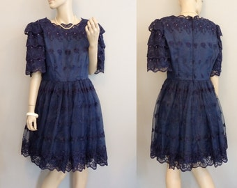 Midnight Blue Lace Dress Short Gown Babydoll Dress vintage Party Prom Dress