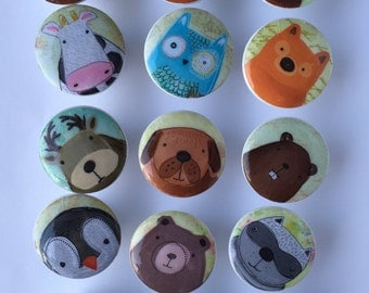 Woodland dresser pulls wood knobs decorated with cute animal images 1 1/2 inch set of 6