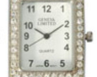 White and Silver Rectangle Interchangeable Watch Face with Rhinestones and Ribbon Bars