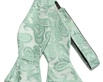 New Micro Fiber Men's Paisley Mint Green Self-Tie Bow tie only, Formal Occasions (AA)