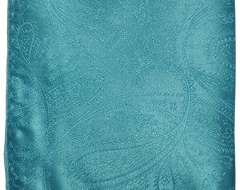 Men's Polyester Paisley Turquoise Handkerchief, for Formal Occasions