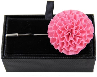 Men's lapel pin brooch chest pink flower for Formal Occasions