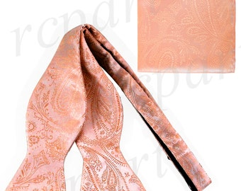 Men's Paisley Peach Self-Tie Bowtie and Handkerchief, for Formal Occasions