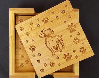 Dachshund, Paw Print, Coasters, Wood Coasters, Bamboo Coasters