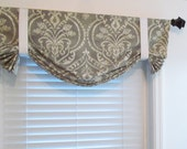 Tie Up Window Valance  Lined Curtain Damask  Gray/Ivory  Sand/White Blue/White You Choose the Fabric and Size!