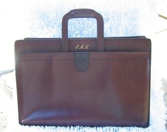 RESERVED FOR JOHN - Vintage Hartman Burgundy Belting Leather Briefcase Attache with Shoulder Strap.